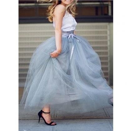 6 Layers Tulle Skirt Summer Maxi Lo..