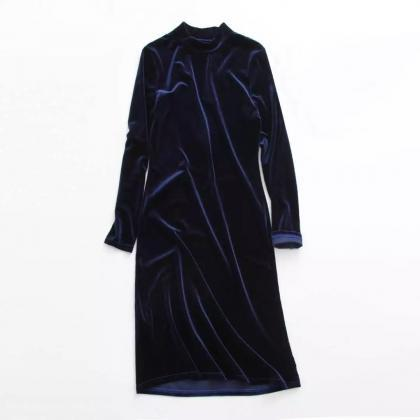 Navy Blue Velvet Mock Neck Long Sle..