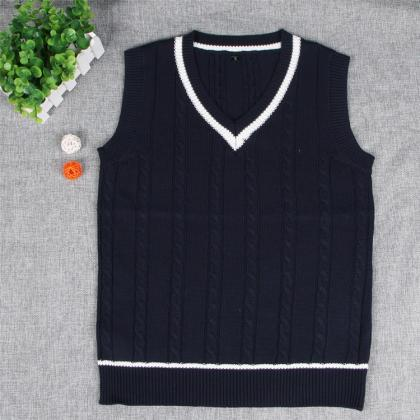 British Preppy Sleeveless Sweater S..