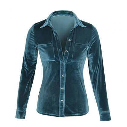 Women Velvet Shirt Long Sleeve Turn..