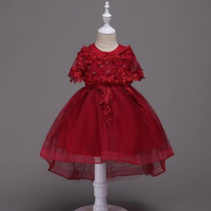 Princess Lace Flower Girl Dress Hig..