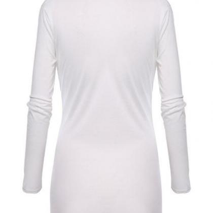 Women V-Neck Tunic Soft Tops Asymme..