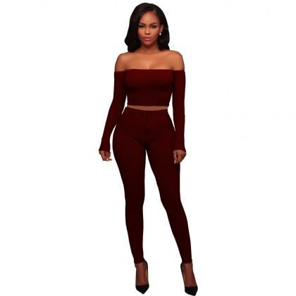 Sexy Two Piece Sets Women Off Shoul..