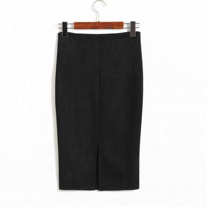 Spring Faux Suede Pencil Skirt Hig..
