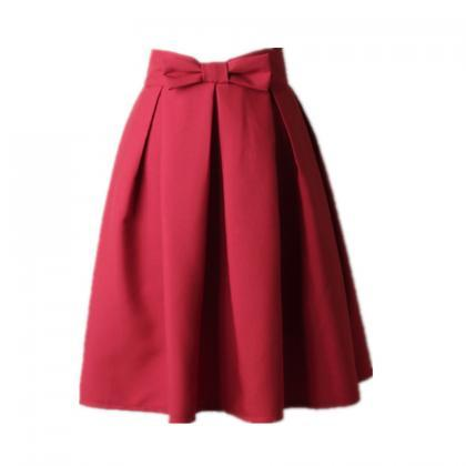 Women Midi Skirt High Waist Pleated..