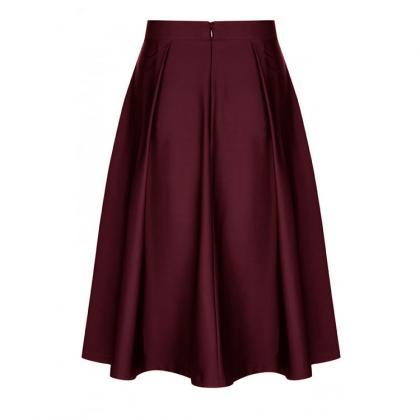 Fashion Women Midi Skater Skirt Hig..