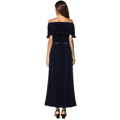 Off the Shoulder Pleated Maxi Dress..