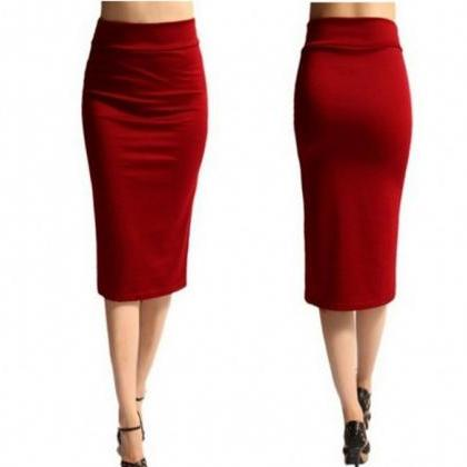 Slim Pencil Skirt High Waist Knee ..