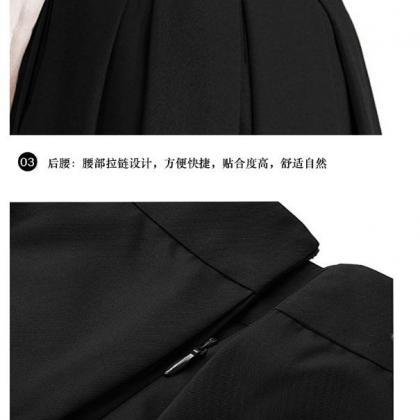 Women Midi Pleated Skirt High Waist..