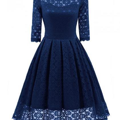 Women Floral Lace Dress Vintage 50s..
