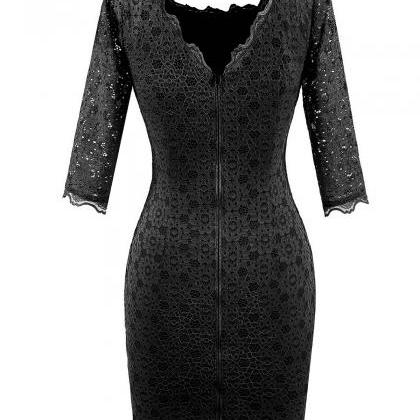 Vintage Lace Bodycon Pencil Dress S..
