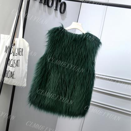 Women Faux Fur Vest Solid Winter Lo..
