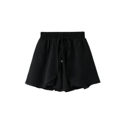 New Chiffon Wide Leg Shorts Drawst..