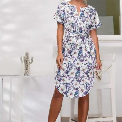 Women Floral Printed Dress O-Neck ..