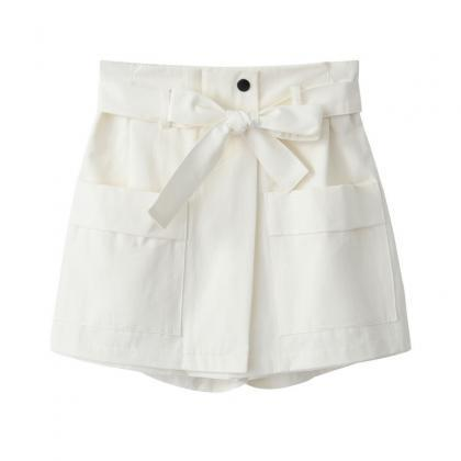 White High Rise Shorts Featuring Bo..