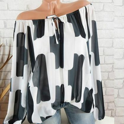 Off the Shoulder Chiffon Shirt Lon..