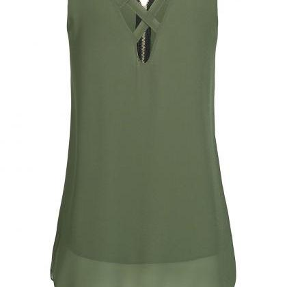 Army Green Criss-Cross Plunge V Sle..