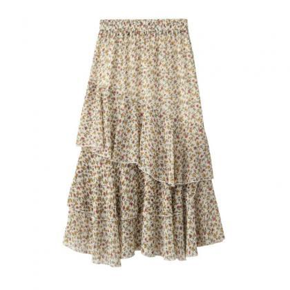 Women Asymmetrical Long Skirt Chiff..