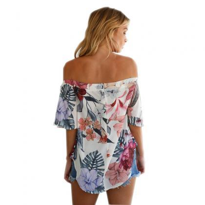 Off-the-Shoulder Floral Print Summe..