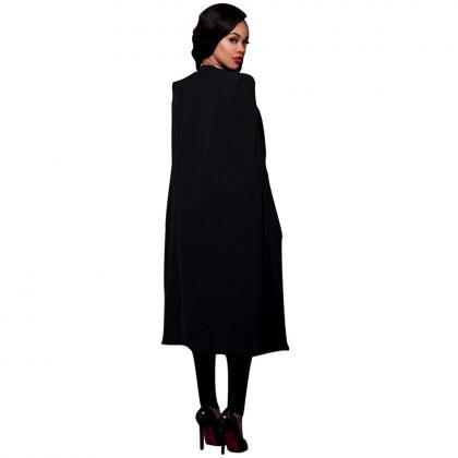 Women Long Cloak Blazer Coat Cape C..