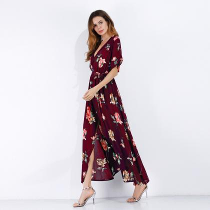 Women Summer Floral Printed Maxi D..