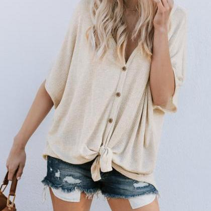 Women Button T Shirt Casual Short S..