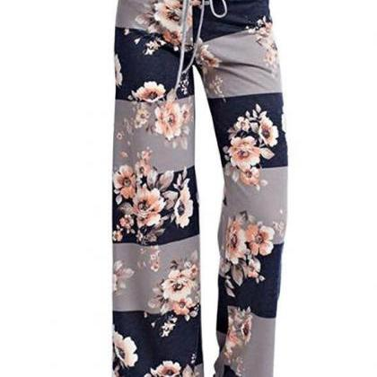 Women Wide Leg Long Pants Floral P..