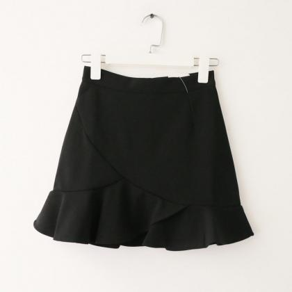 Women Mini Wrap Skirt High Waist S..