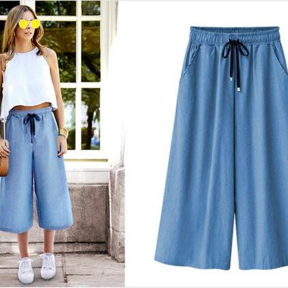 Women Denim Wide Leg Pants Summer P..