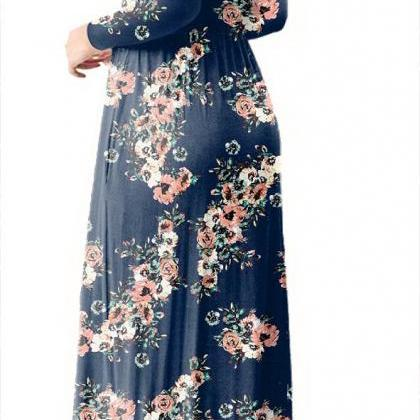 Women Floral Print Maxi Dress Long..