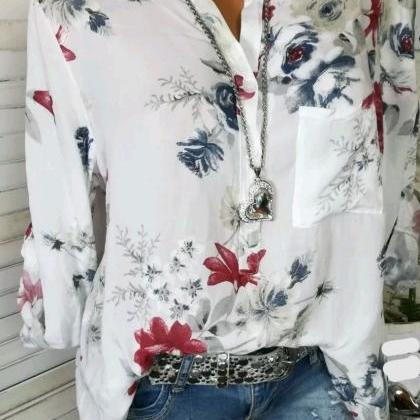 Women Shirt Floral Printed Long Sle..