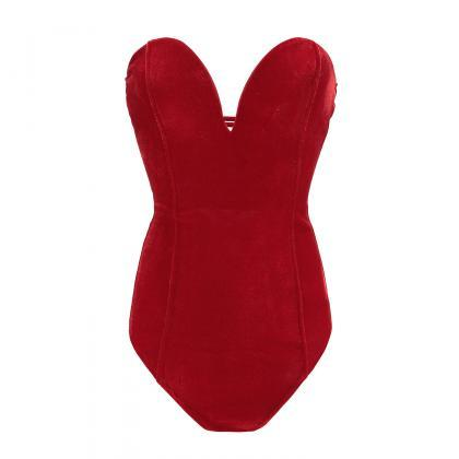 Women Velvet Bodysuit V Neck Slim ..
