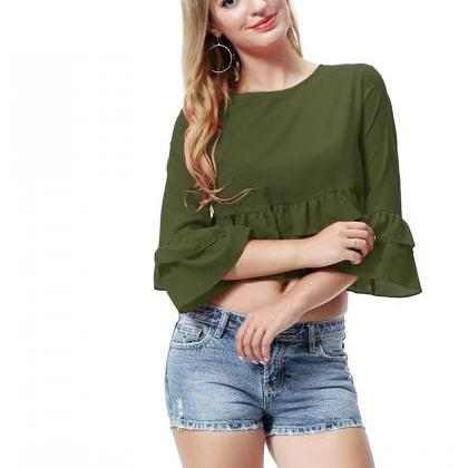 Army Green Round-Neck Ruffle Crop T..