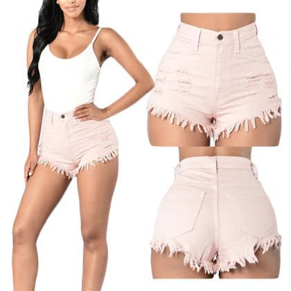 Women Denim Shorts High Waist Rippe..