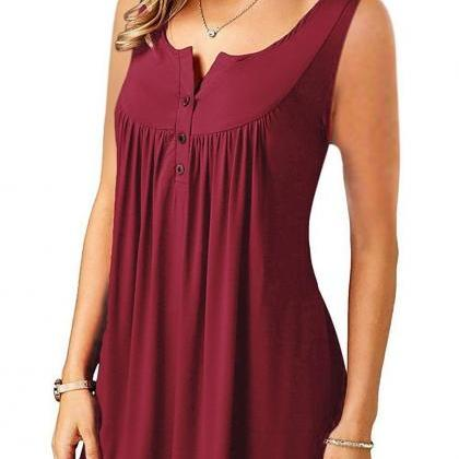 Women Tank Tops Button Plus Size Pl..