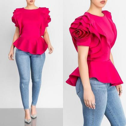 Women Casual T Shirt Summer Ruffle..