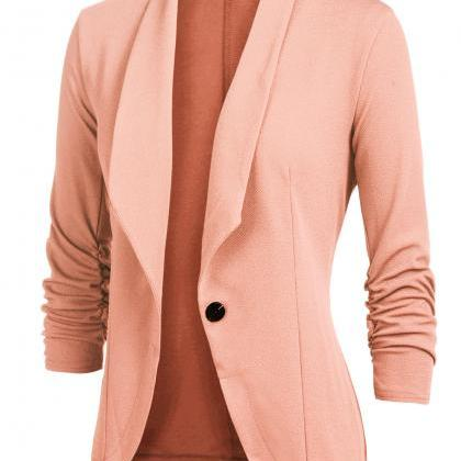 Women Slim Suit Coat 3/4 Sleeve On..