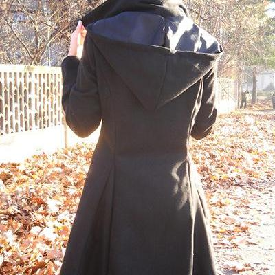 Women Asymmetric Woolen Coat Long S..