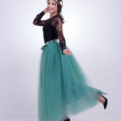 6 Layers Tulle Skirt Summer Maxi L..