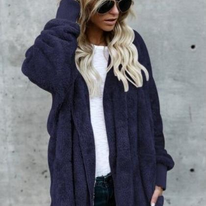 Women Faux Fur Coat Winter Long Sl..