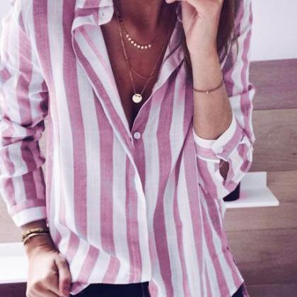 Women Striped Blouse Autumn V-Neck ..
