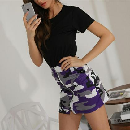 Women Camouflage Mini Skirt Front ..