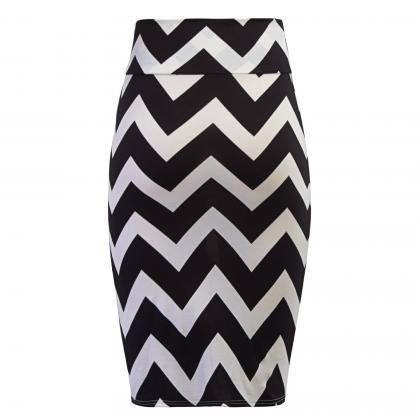 Women Striped Pencil Skirt Slim Hig..