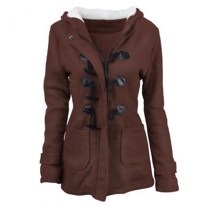 Women Parka Jacket Hooded Solid War..