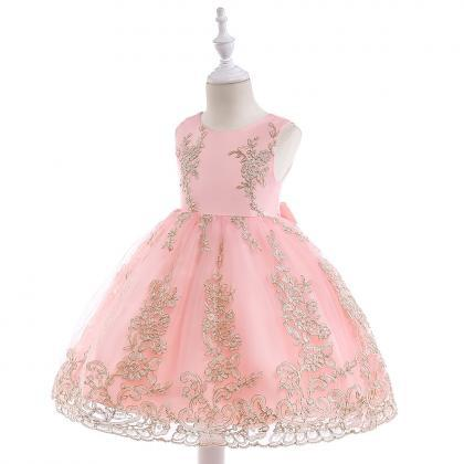 Embroidery Lace Flower Girl Dress P..