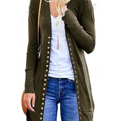 Women Knitted Cardigan V Neck Butto..