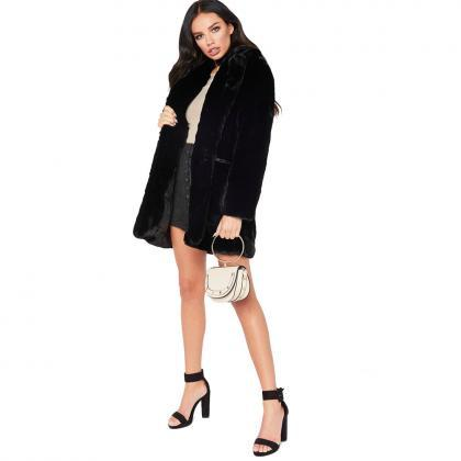 Women Faux Fur Coat Winter Long Sle..