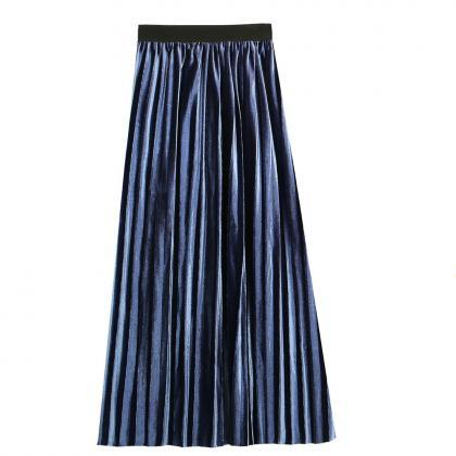 Women Velvet Pleated Skirt Autumn W..