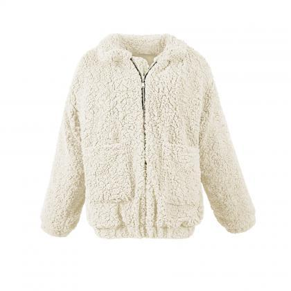 Women Faux Fur Coat Winter Turn-dow..