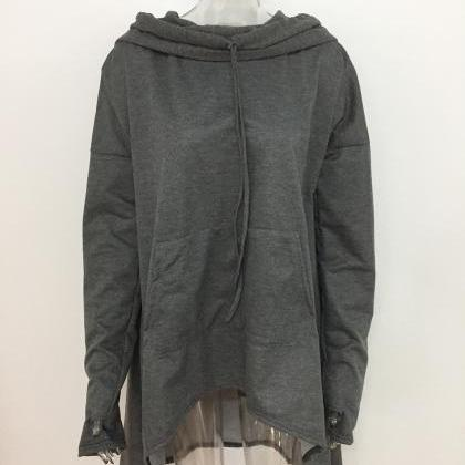 Women Asymmetric Hoodies Autumn Win..